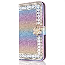 iPhone 6 Plus Case,iPhone 6S Plus Wallet Flip Case,Gostyle Luxury [Bling Diamond Crystal Flower] Glitter Rainbow Magnetic Leather Blue Purse Case with Stand Function,Cash/Card Holder Slots.
