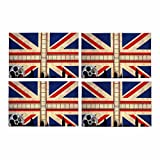 InterestPrint Union Jack with Movie Reels London Skyline Placemat Table Mats Set of 4, Heat Resistant Place Mat for Dining Table Restaurant Home Kitchen Decor 12x18