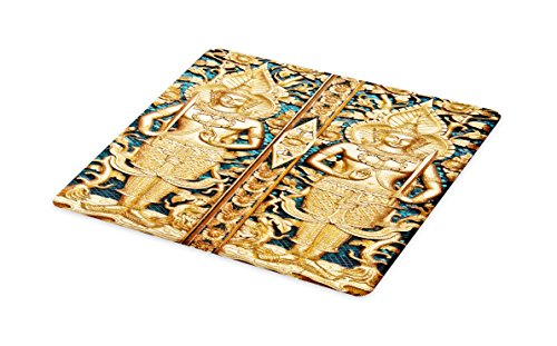 Lunarable Rustic Cutting Board, Thai Gate at Wat Sirisaotong Thailand Religious Architectural History Spiritual Image, Decorative Tempered Glass Cutting and Serving Board, Small Size, Gold (Thai Gold Plate)