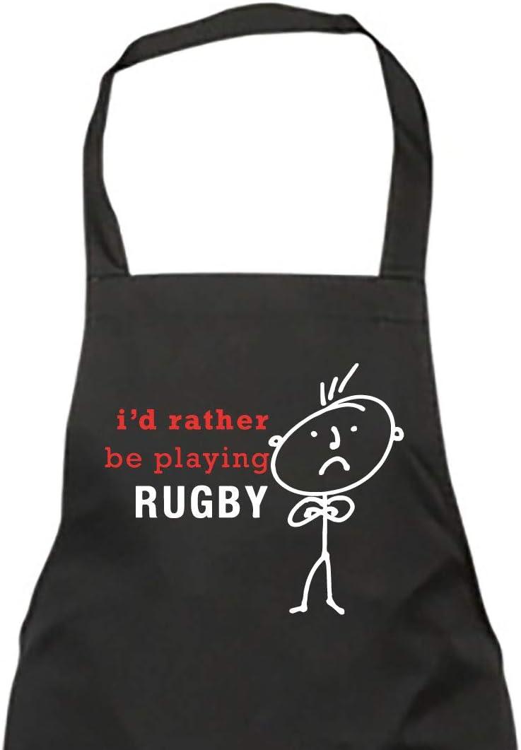 Hombre I'd Rather Be Playing Rugby Delantal Negro Novedad Divertido Cumpleaños Regalo Navidad Padre abuelo novio AMIGO