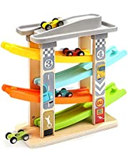 Wooden Click Clack Toys with 6 4 Cars Wooden Ramp Racer Toys for Boys Wooden Race Track for 1 2 Year Old Girl Boy