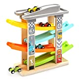 TOP BRIGHT Wooden Ramp Race Track with 4 Mini Cars Race Tracks Ramp Toys for Kids,Toddle