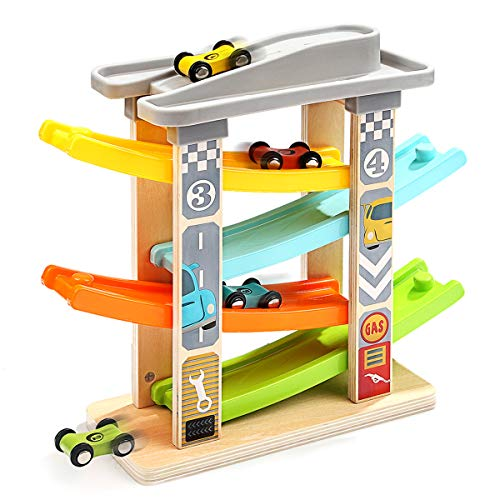 Flip Track - Top Bright Wooden Ramp Race Track with 4 Mini Cars Race Tracks Ramp Toys for Kids,Toddle