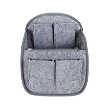 Luxja Mini Backpack Organizer, Small Felt Organizer Insert for Backpack, Gray