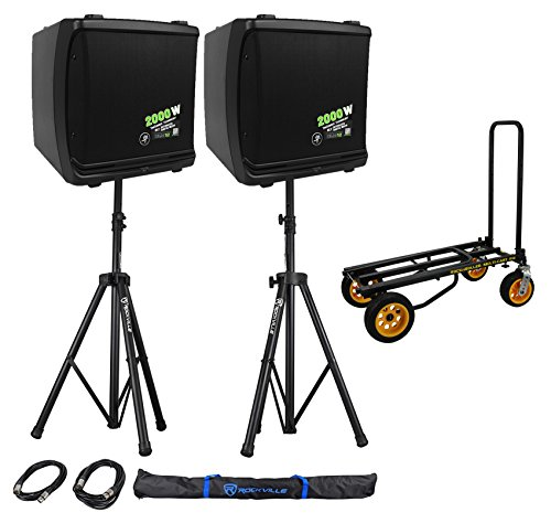 """Mackie DLM12 2000w 12"""" Powered DJ PA Speakers+Stands+Cables"""