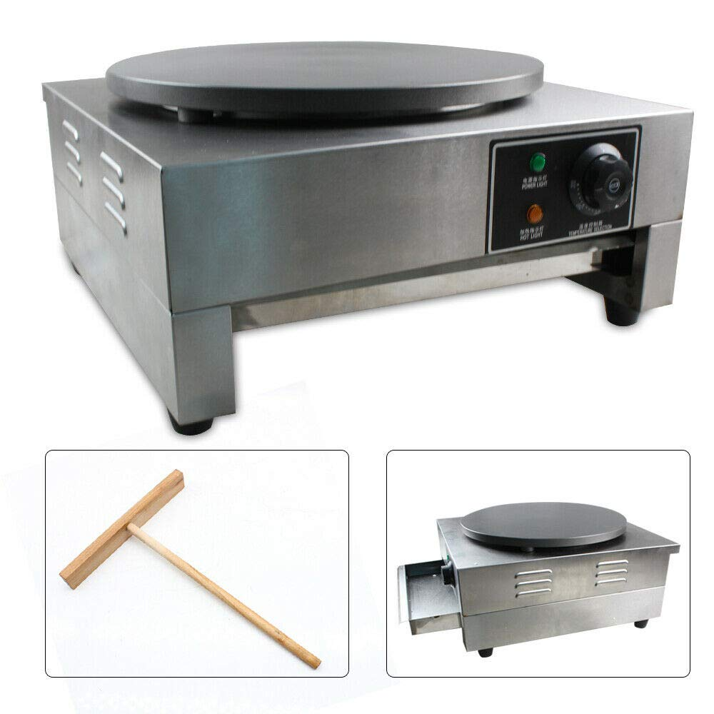 Commercial Single Electric Crepe Maker Pancake Baker Machine Built-in Thermostat+Wooden Spatula 110V 3KW+ Wooden Spatula by BOYU-SHITAI