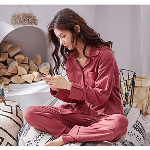 un casa Size Red due a Red di casual servizio sottili da da pigiama Color camicia signore lunghe notte cotone modelli casa M Pigiama indossare autunno pezzi vestito maniche di possono abiti AXwRqSf