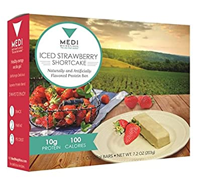 Medi-Weightloss Iced Strawberry Shortcake Protein Bar - High Protein (10g) - 100 Calories - For Hunger Control During Diet/Weight Loss - 7 Bars Per Box