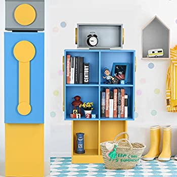 Children's Bookshelf Vogue Carpenter Robot Floor Bookcase With 7 Cubes Wooden Book Storge Cabinet