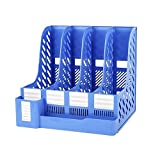 TONSHEN Desktop Organizer File Book Magazine Document Holder School Office Box Cabinet Rack Storage for Letter Folders Archives A4 Size (Blue)