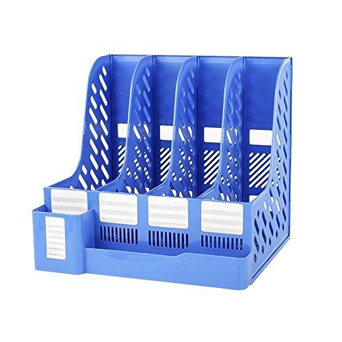 TONSHEN Desktop Organizer File Book Magazine Document Holder School Office Box Cabinet Rack Storage for Letter Folders Archives A4 Size (Blue)