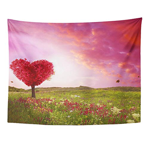 Emvency Tapestry Wall Hanging Polyester Fabric Tree of Love in Spring Red Heart Shaped at Sunset Beautiful Landscape Flowers for Bedroom Living Bedspread Room Dorm Decorations 60x80 Inches