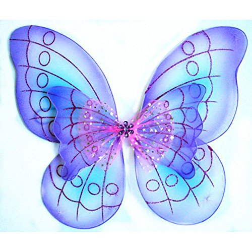 - White Sparkling Fairy Costume Wings (PURPLE DOUBLE LAYER)