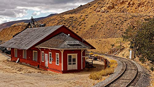 Home Comforts Peel-n-Stick Poster of West America Gold Nevada Hill Railway USA Vivid Imagery Poster 24 x 16 Adhesive Sticker Poster Print
