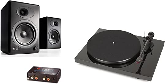 Pro-Ject Debut Carbon DC Turntable with Ortofon 2M Red Cartridge Bundle with Phono Box and Audioengine A5 Speakers Black