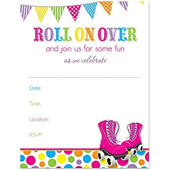 amazon com roller skate party invitations fill in style 20 count