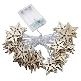 LED Light String White 20Leds Romantic Wood Five-Pointed Star Shape DIY Decorative Festive Atmosphere Lighting Battery Powerd Mood Light