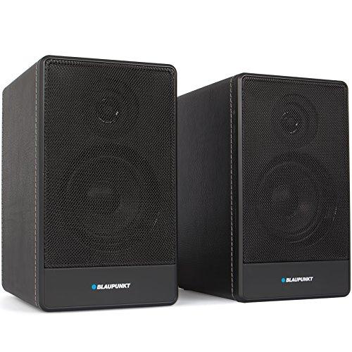 Blaupunkt BT 105e BK Bluetooth Lautsprecher, 2 x 40 Watt, USB, AUX-In für MP3-Player, ERP2, 2-Wege-Lautsprecher im Holzgehäuse mit Lederoptik, PC Speaker schwarz