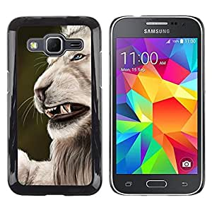 TECHCASE**Cubierta de la caja de protección la piel dura para el ** Samsung Galaxy Core Prime SM-G360 ** Roar Angry Big Cat Lion Nature White