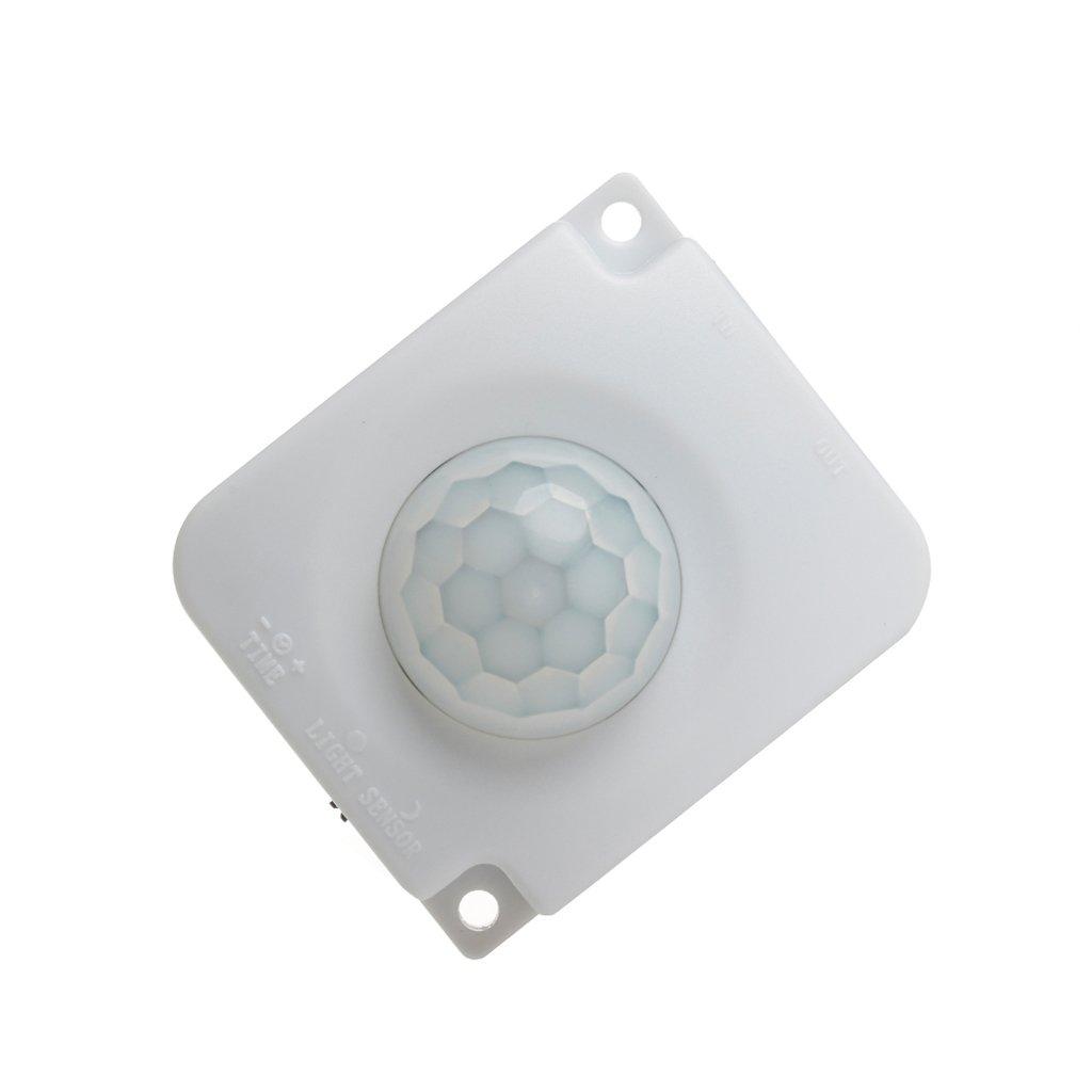 JOYKK Automático DC 12V 24V 10A Cuerpo infrarrojo PIR Detector de Movimiento Sensor Interruptor - Blanco: Amazon.es: Hogar