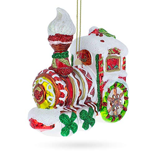 (BestPysanky Candy Cane Train Blown Glass Christmas)