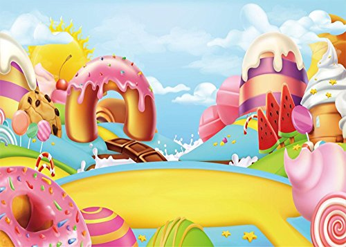 Leowefowa 5X3FT Candy Gingerbread Backdrop Girls Birthday Backdrops for Photography Candy Cane Lollipops Ice Cream Dessert Table Polyester Photo Background Girls Room Wallpaper Studio Props - Candy Cane Backgrounds