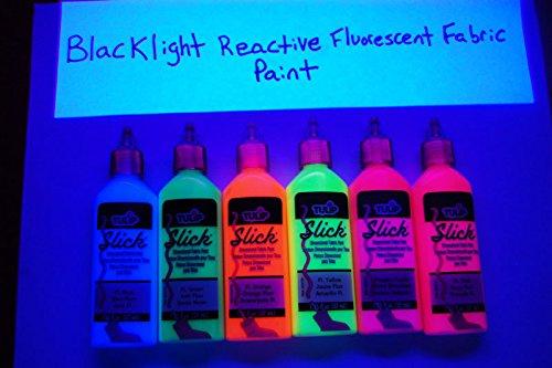 1.25oz Deluxe Blacklight Reactive Fabric Paint Combo Set