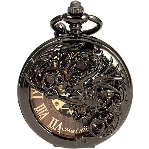 (ManChDa Mens Skeleton Mechanical Pocket Watch Dragon Hollow Double Hunter ManChDa Burlywood Dial )