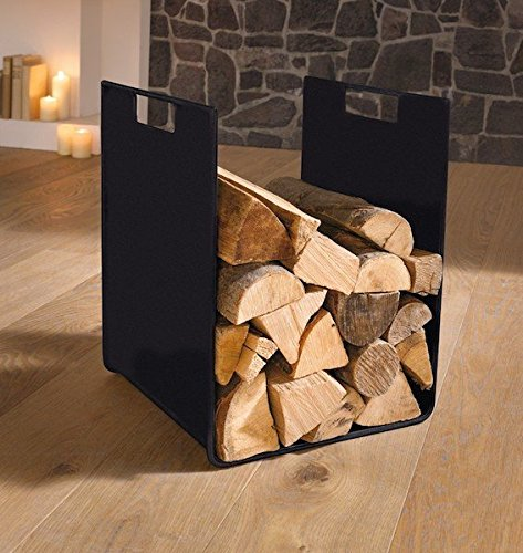 """Classic"" metal wood basket, black, oven wood basket Dekoleidenschaft"