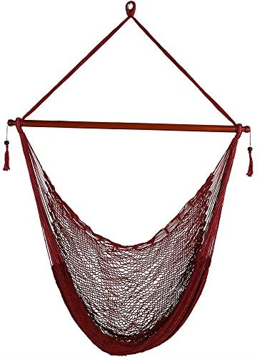 Sunnydaze Hanging Rope Hammock Chair Swing – Cabo Style Extra Large Hanging Chair with Spreader Bar for Backyard Patio – 360-Pound Capacity – Red