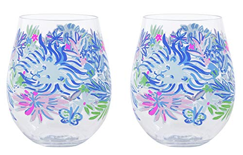 Lilly Pulitzer Tumbler - Lilly Pulitzer Acrylic Stemless Wine Glass Set of 2, 16 Ounces, Lion Around