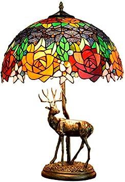 AWCVB Tiffany Lámpara De Mesa Lámpara De Mesa Lámpara De Mesa En La CE Certificación Rococó del Barroco Dos Manchas Rosadas Resina Base Glaswasc