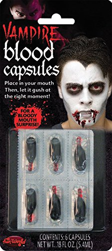 True Horror-ZOMBIE VAMPIRE FAKE BLOOD CAPSULES-Costume FX Effects Prop (Vampire Victim Costume)