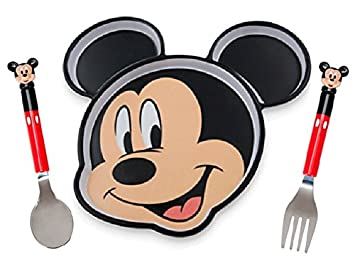Disney Mickey Mouse 3 piece Dining Set Plate Fork and Spoon  sc 1 st  Amazon.com & Amazon.com : Disney Mickey Mouse 3 piece Dining Set Plate Fork and ...