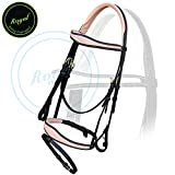 Royal Fancy Anatomic Raised Beige Padded Bridle with PP Rubber Reins./ Vegetable Tanned Leather./ Brass Buckles.