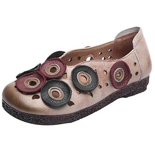 Mordenmiss Womens Etnische Pinkycolor Loafers Bloemen Carving Uitglijden Beige