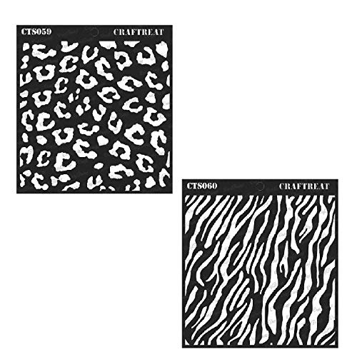 CrafTreat Stencil - Cheetah and Zebra (2 pcs) - Reusable Painting Template for Journal, Notebook, Home Decor, Crafting, DIY Albums, Scrapbook and Printing on Paper, Floor, Wall, Tile 6x6 ()
