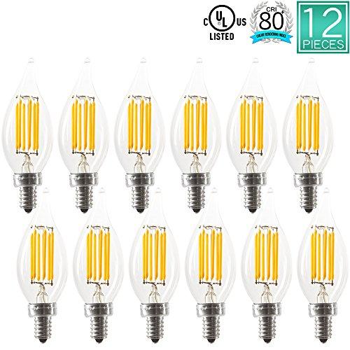 [Luxrite 6W LED Candelabra Bulb, 3000K Soft White, 60W Equivalent, CRI80+, LED Filament Bulb, 650 Lumens, Chandelier Light Bulb, UL Listed, Flame Tip, E12 Base, 12-Pack] (60w Reveal Globe)
