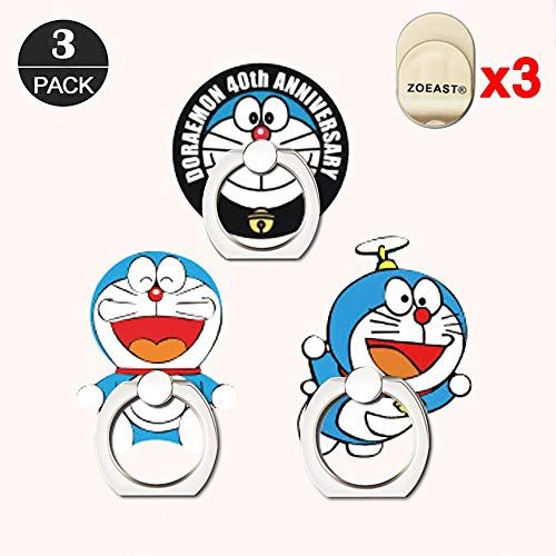 ZOEAST(TM) 3 Pack Phone Ring Grip Blue Cat Kitty Noby Universal 360° Adjustable Holder Car Desk Hook Stand Stent Mount Kickstand Compatible with iPhone X Plus Samsung iPad Tablet (3pcs Doraemon) -
