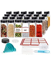 24PCS Glass Spice Jars, Small Items Storage and Organization, Glass Mason Jars with Lids, Seasoning Containers, Spice Organizer, Comes with Funnel, Spice Label, Shaker, Brush