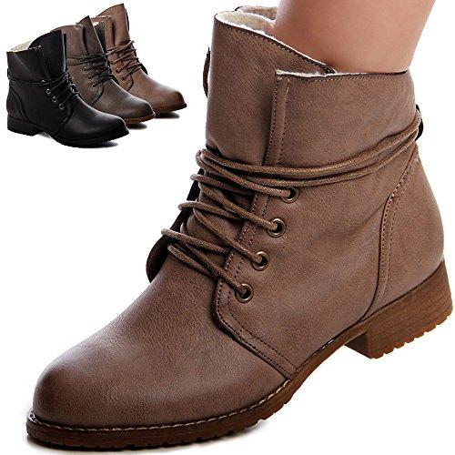 topschuhe24 Damen Boots Stiefeletten Gefüttert Schwarz