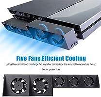 Ventilador de refrigeración para PS4, USB External Cooler 5 Ventilador Turbo Control de temperatura Ventiladores de refrigeración para Sony Playstation 4 Gaming Console: Amazon.es: Videojuegos