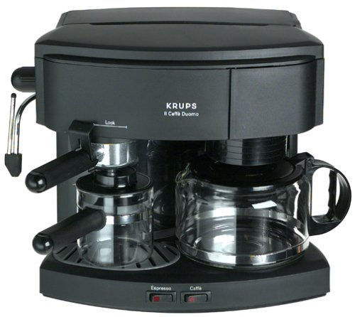 Factory-Reconditioned Krups R985-42 Il Caffe Duomo Combination 8-Cup Coffeemaker and Espresso Machine, Black