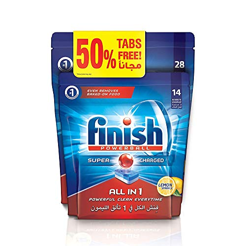 Finish All in One Dishwasher Detergent Tablets, Lemon, 28 + 14 tabs (Pack of 2)