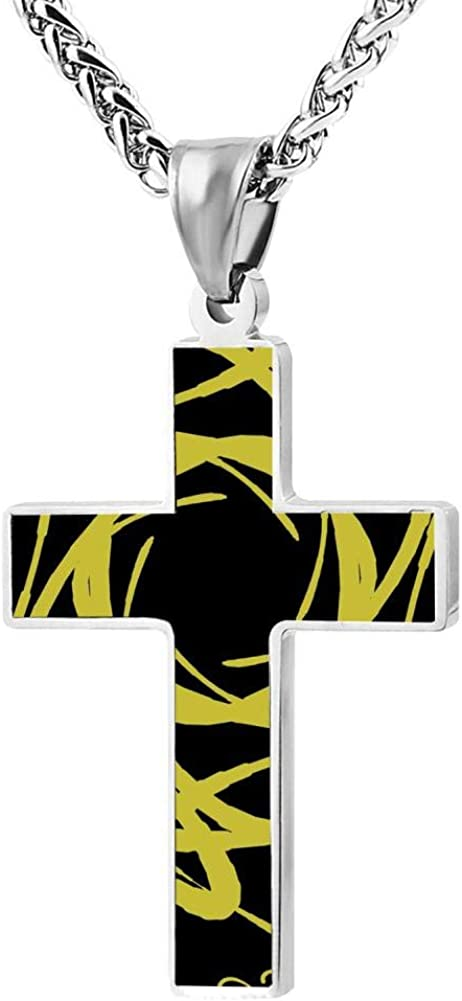 Black Zinc Alloy 24 Inches Rotating fantasy yellow pattern Cross Necklace For Men And Women