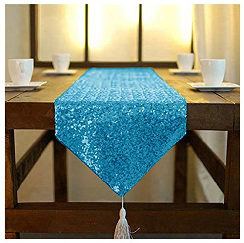 ShinyBeauty Tassel Sequin Table Runner 12x120-Inch Turquoise, Wedding Eevet Sparkly Decoration Table Runner with Tassel (Turquoise)