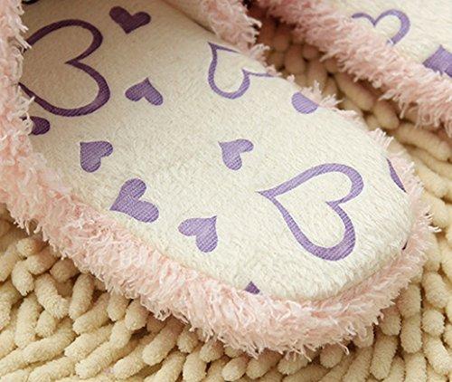 Blubi Womens Love Heart Deco Cute Slippers Womens Slippers Purple
