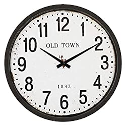 Windy Hill Collection 16 x 16 Vintage Decorative Wall Clock Old Town Classic Numbers WC9-EB2009