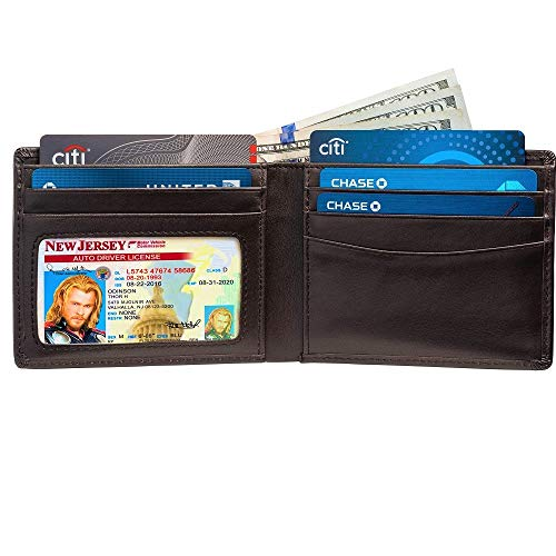 Slim Bifold RFID Bloking Wallet For Men Genuine Leather Packed In Stylish Gift Box (Brown)