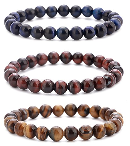 Yoga Mala Bracelet (Hamoery Men Women 8mm Natural Stone Beads Bracelet Set Elastic Yoga Agate Bracelet Bangle (Set 1))